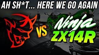 AH SH*T here we go again... Dodge Demon vs Kawasaki NINJA ZX14R DRAG RACE | Demonology