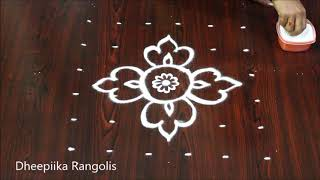easy rangoli design with 6x6 dots for beginners l friday kolam designs l latest muggulu patterns