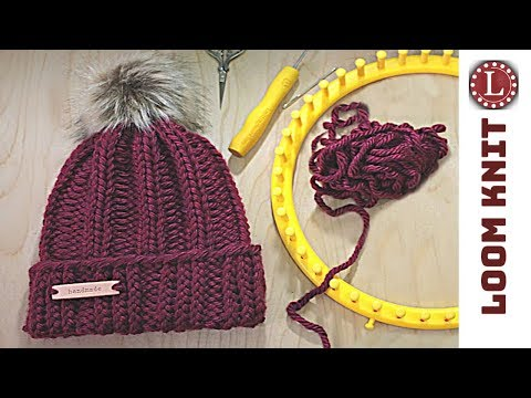 LOOM KNIT Hat Easy Rib Stitch Beanie Strickring | GorroTelar | Tricotin | نول | obręcze dziewiarskie