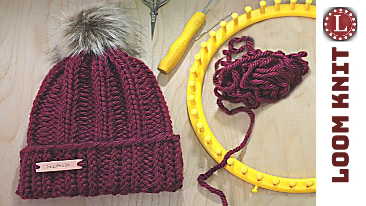 823e6ece9d2 LOOM KNIT Hat Tutorial Easy