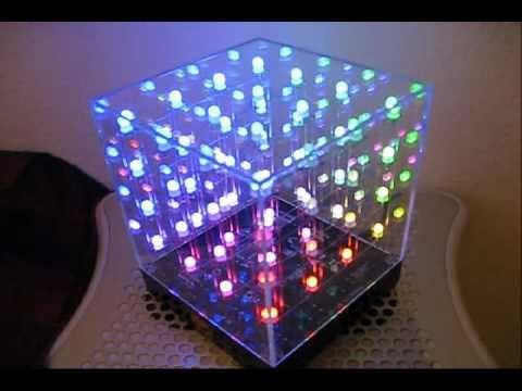 Hi-Tech Art  3D LED Cube (4x4x4 Initial 9 min of coolness)