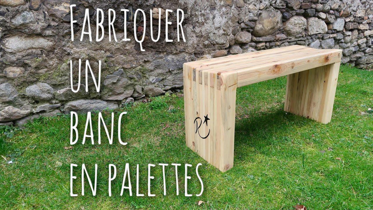 fabriquer un banc en palettes diy pallet wood slat bench. Black Bedroom Furniture Sets. Home Design Ideas