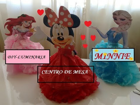 Diy luminária Minnie -Minnie table lamp centerpiece