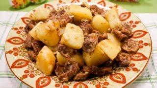Жареные куриные желудки с картофелем - Наталья Ким