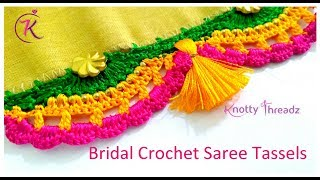 New Crochet Saree Kuchu |  Bridal Saree Kuchu | Design 1/10 - Series 2 | www.knottythreadz.com
