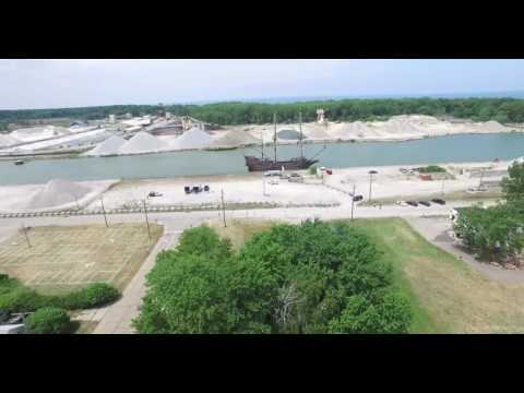 Aerial View of Fair Port Harbor Ohio July 2016 with first of three tall ships docked.