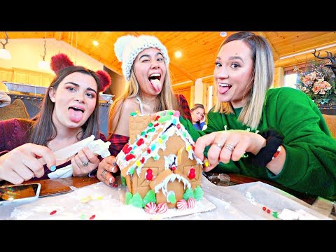 Decorating GINGERBREAD HOUSES Competition! *the Power Went Out* | Vlogmas Day 4