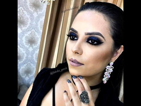 Vestido preto de renda maquiagem
