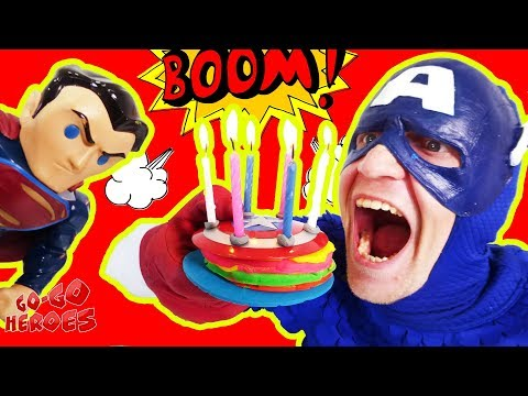 День рождения КАПИТАНА АМЕРИКИ! Праздник для супергероев Флэш Бэтмен Супермен Супергерои для детей