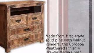 Cordoba Weathered Finish 4 Drawer Media Chest - Lonestarwesterndecor.com