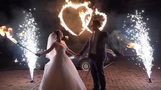 Огненные сердца и фонтаны | свадебная пиротехника в Одессе | Шоу-студия ЭРИАЛ