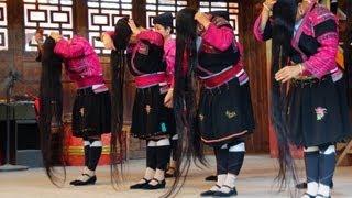 Red Yao Hill Tribe Long Hair Performance at Lonji Longsheng Rice Terrace in Guilin, China (瑤族 -  瑶族)