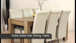 Kuba Solid Oak Dining Table & 6 Ivory Leather Chairs
