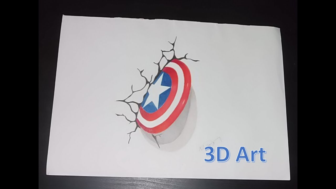 Captain America Shield Drawing: Captain America Shield Drawing In 3D