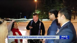 Bronx couple gets married in parking lot after snowstorm shuts down city