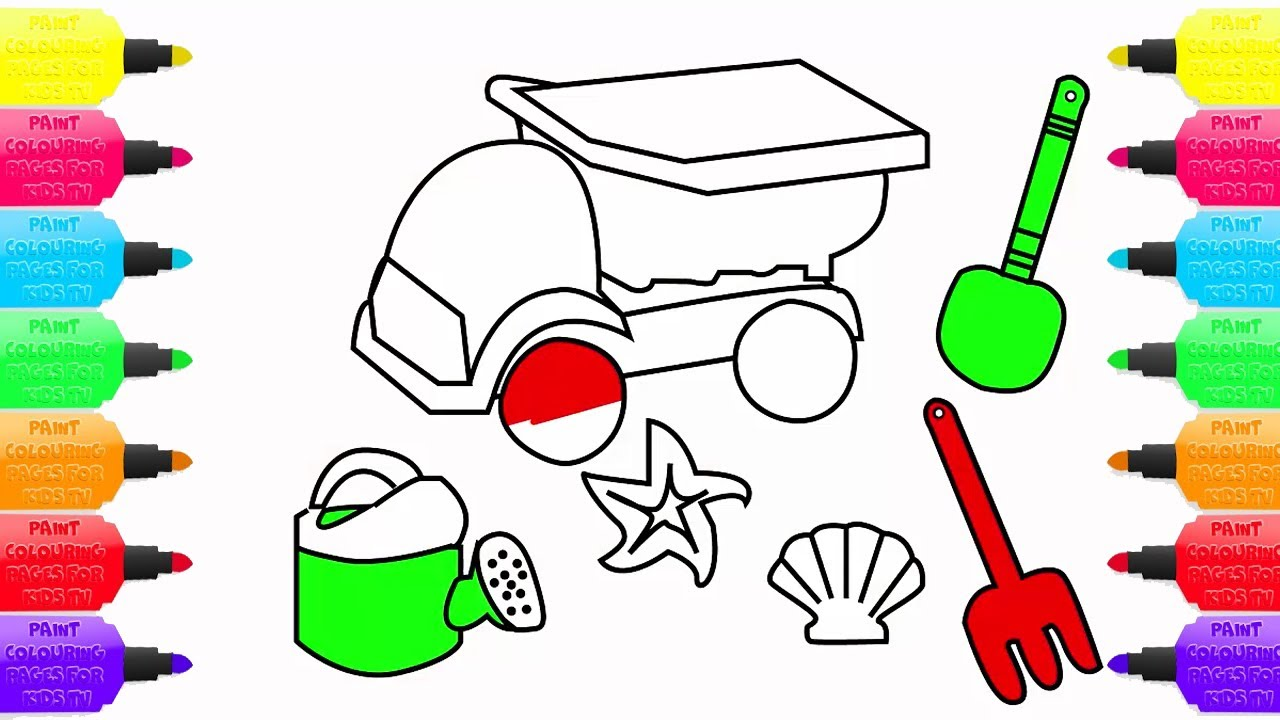 How To Draw Beach Toy Art Colours For Children