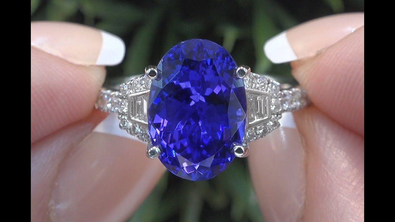ring halo gold white double diamond certified gia tanzanite engagement