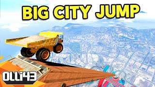 BIG CITY JUMP WITH DUMB VEHICLES - GTA 5 Mods Showcase
