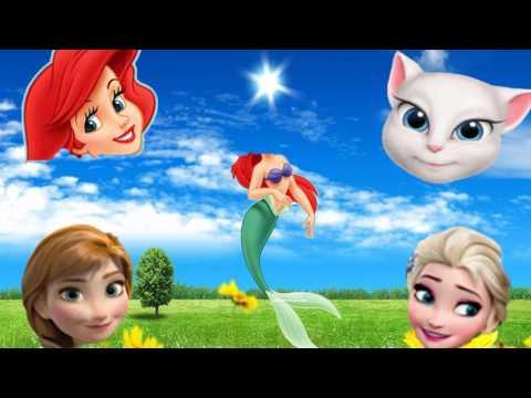 Wrong Heads Disney Princess Frozen Elsa Ariel Talking Angela Anna Dora Finger Family Song