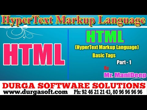 HTML Basic Tags Part -1 By Manideep