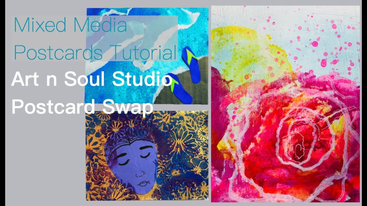 497678e3c752d Mixed Media Postcards- Art n Soul Studio Postcard Swap - YouTube