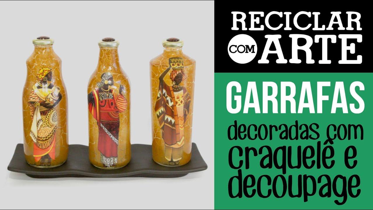 garrafas de vidro   decoupage e craquel   reciclar
