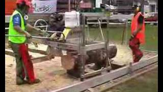 Young Farmer Running A Peterson Portable Sawmill