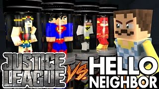 Minecraft Hello Neighbor Captures The JUSTICE LEAGUE (minecraft Roleplay)