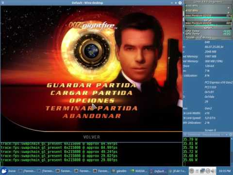 007 Nightfire Test 48fps NVENC x64 + Sound (Pentium G3258) con el Wine 2.13 + Nvidia 384.47