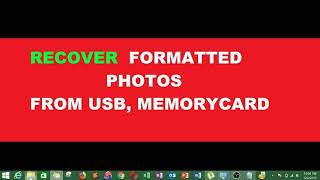 Recover formatted USB,PENDRIVE WIH FREE SOFTWARE