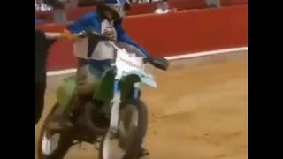 Crazy Motocross Rider chased by a Bull