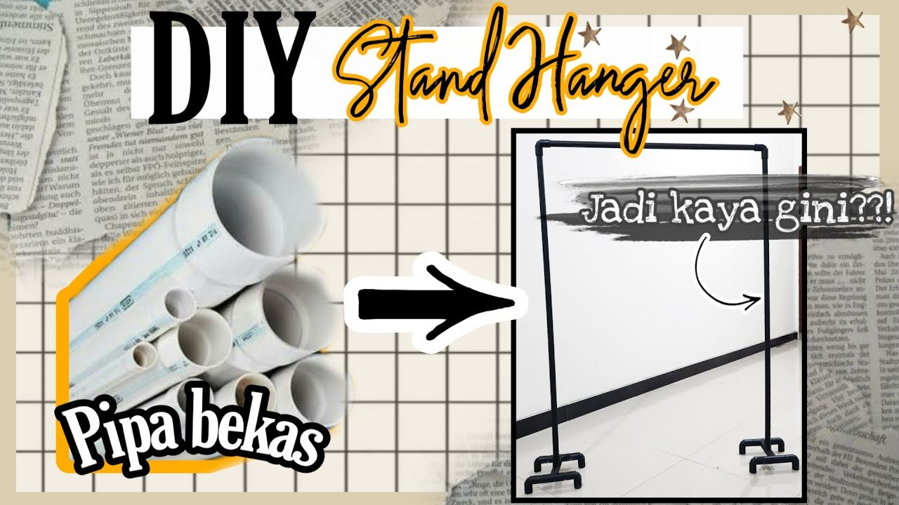 DIY ROOM DECOR INDONESIA - DIY IKEA HACK - DIY STAND HANGER (dari pipa bekas)