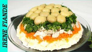 Салат Грибная Поляна для  праздничного  стола.Красивый салат покорит всех гостей
