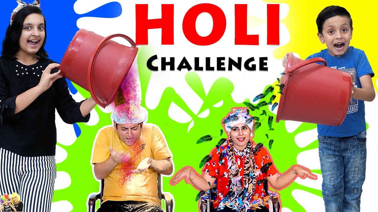 HOLI CHALLENGE 2020 Festival of colours #Family #Comedy Mom vs Dad | Aayu and Pihu Show
