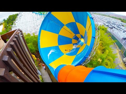 [4k] The Tornado - Six Flags Hurricane Harbor (Los Angeles, California)