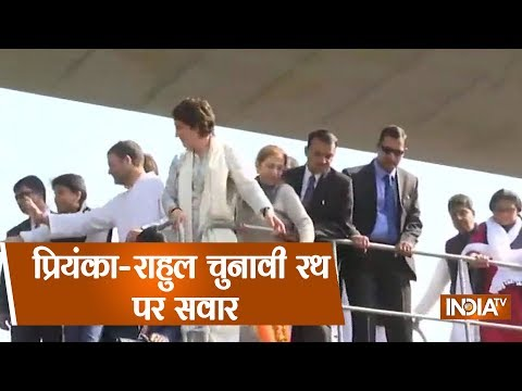 Priyanka Gandhi's Lucknow Roadshow Cruises Ahead As Crowds Gather In Large Numbers