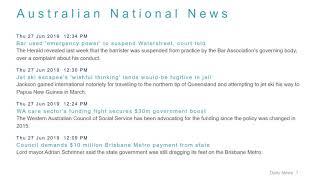 National News Headlines for 27 Jun 2019 - 1 PM Edition