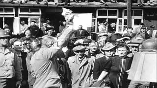 German civilians visit the Buchenwald concentration camp in Weimar, Germany. HD Stock Footage