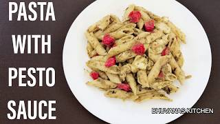 pasta with pesto sauce indian style | pesto pasta recipe vegetarian | how to make pasta in pesto