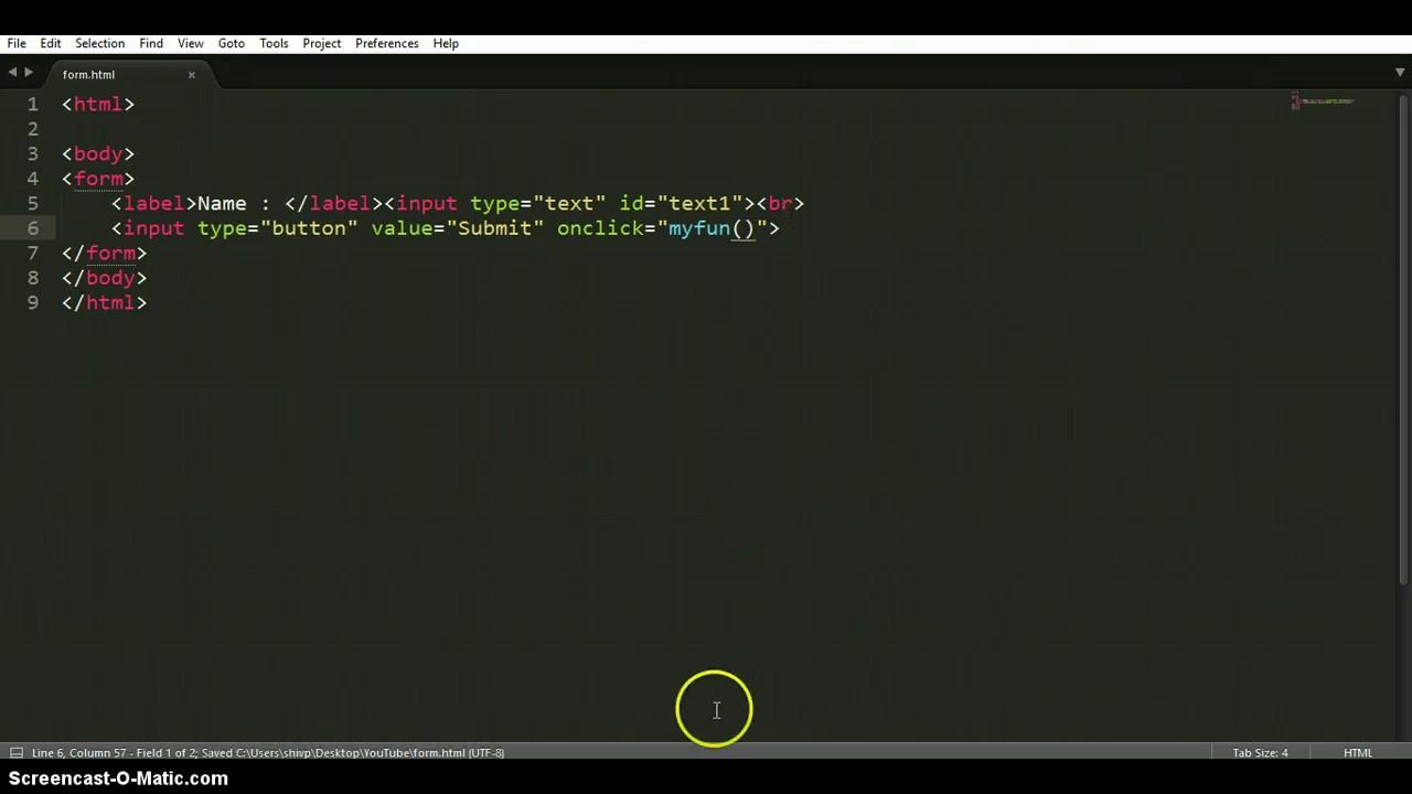 HTML and Javascript display form values | alert box - YouTube