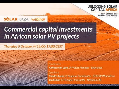Solarplaza Webinar: Commercial capital investments in African solar PV projects