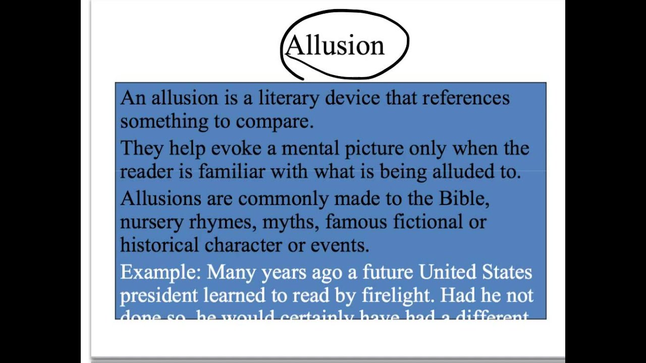 Allusion Vignettes And Analogies Youtube