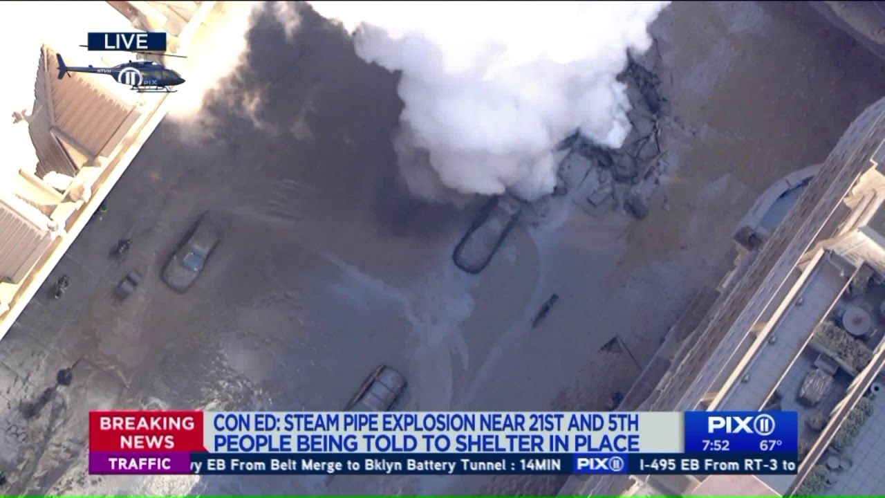 Steam pipe explosion: Vehicles trapped under soot