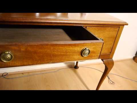 Large Antique Mahogany Dressing Table With Mirror & Chair