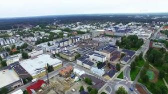 Joensuu Finland above 4K Birds Eye view  drone video