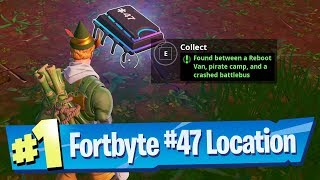 Fortnite Fortbyte #47 Location - Found Between a Reboot Van, Pirate Camp and a Crashed Battle Bus