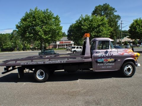 1957 chevy rollerback tow truck - YouTube