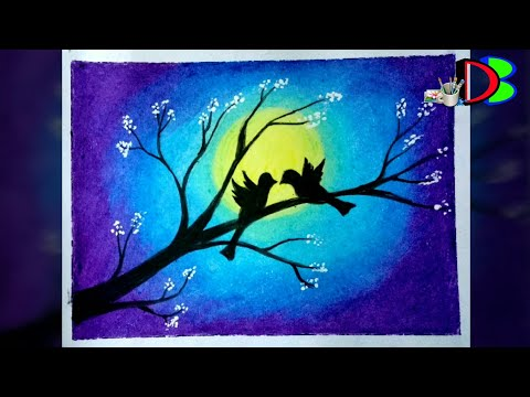 how-to-draw-a-love-bird-scenery-|-valentine-day-special-drawing-|-lovebird-in-moonlight-scenery