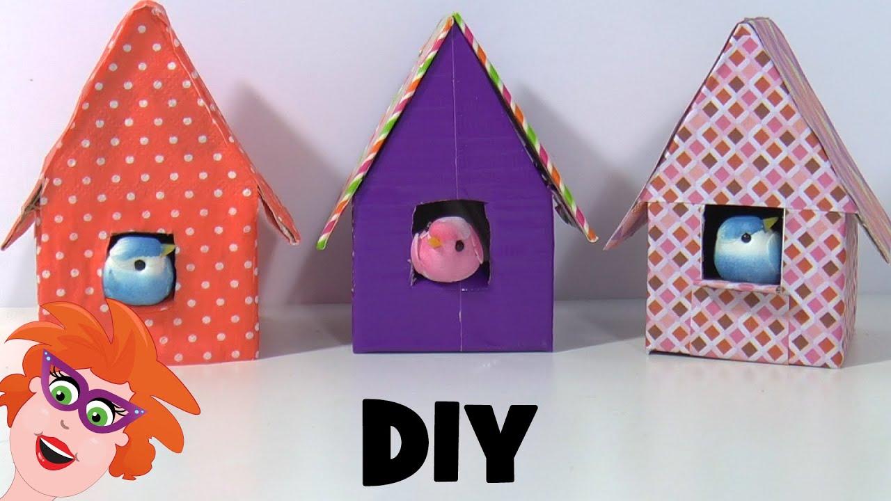 Verbazingwekkend Vogelhuisjes knutselen van karton en papier - YouTube SO-18