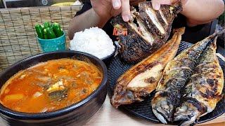 육개장,고등어구이,임연수,가자미,청양고추,쌀밥 NO TALKING 먹방 MUKBANG